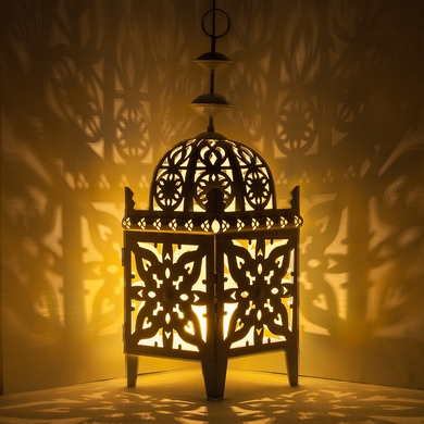 "12"" Black Moroccan Candle Lantern Tea Light Holder"
