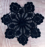 "11.5"" Bloom Shaped Crochet Lace Doilies Placemats, Handmade Cotton - Black (2 PACK)"
