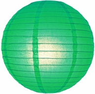 """12"""" Emerald Green Round Paper Lantern, Even Ribbing, Hanging (Light Not Included)"""