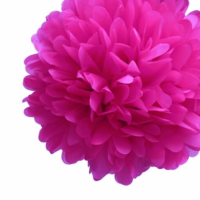 "EZ-Fluff 12"" Fuchsia Tissue Paper Pom Poms Flowers Balls, Decorations (4 PACK)"