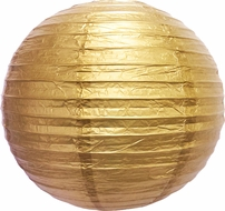 "12"" Gold Round Paper Lantern, Even Ribbing, Hanging (Light Not Included)"