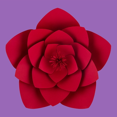 "12"" Anemone Red Paper Flower Backdrop Wall Decor, 3D Premade"