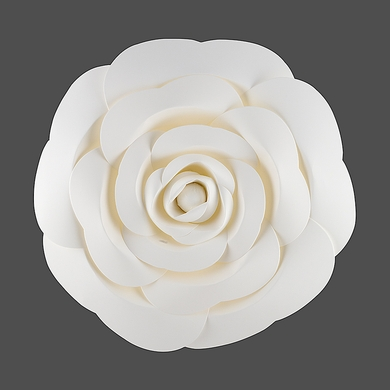 "12"" Garden Rose White Paper Flower Backdrop Wall Decor, 3D Premade"