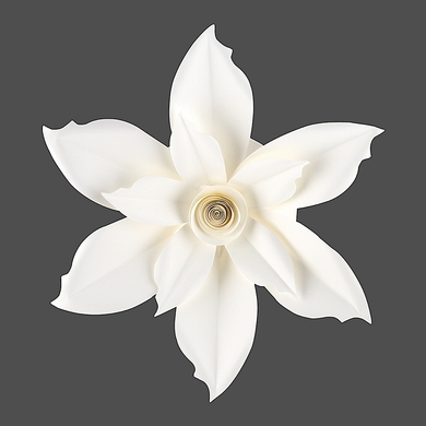 "12"" Pasque White Paper Flower Backdrop Wall Decor, 3D Premade"