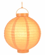 "12"" Orange 16 LED Round Battery Operated Paper Lantern w/ Built-in Light-Up Switch"