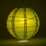 "8"" Pear Round Paper Lantern, Crisscross Ribbing, Hanging Decoration"