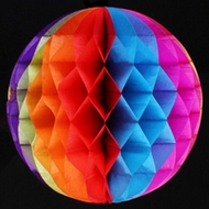 "12"" Rainbow Multi-Color Round Tissue Lantern, Honeycomb Ball, Hanging"
