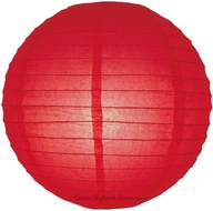 "12"" Red Round Paper Lantern, Even Ribbing, Hanging (Light Not Included)"