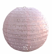 "BLOWOUT 12"" Round Eyelet Lace Look Paper Lantern - Pink"