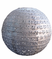 """12"""" Round Eyelet Lace Look Paper Lantern - Silver"""