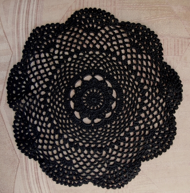 """11.5"""" Round Shaped Crochet Lace Doilies Placemats, Handmade Cotton - Black (2 PACK)"""