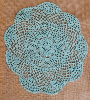 "11.5"" Round Shaped Crochet Lace Doilies Placemats, Handmade Cotton - Cool Mint (2 PACK)"