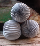 "12"" Silver Accordion Paper Lantern Balls - (3 PACK)"