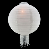 "12"" White Royal Wedding Paper Lantern, Even Ribbing"