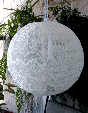 "12"" White Lace Fabric Lantern, Even Ribbing, Hanging Decoration"