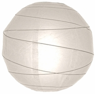 "12"" White Round Paper Lantern, Crisscross Ribbing, Hanging (Light Not Included)"
