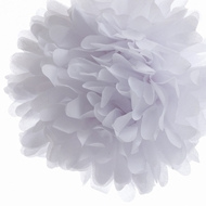 EZ-Fluff 16'' White Tissue Paper Pom Poms Flowers Balls, Decorations (4 PACK)
