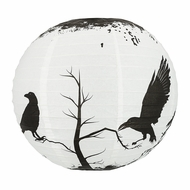 "14"" Halloween Crows Scary Black Birds Paper Lantern, Hanging Decoration"