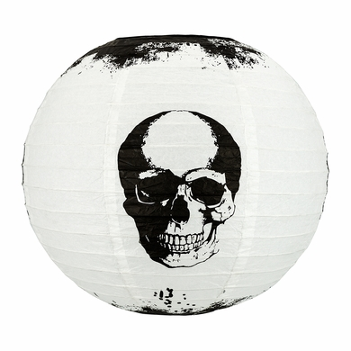 "14"" Halloween Skull Skeleton Face Paper Lantern, Hanging Decoration"