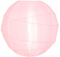 "14"" Irregular Ribbed Rose Quartz Pink Nylon Lantern, Durable, Hanging (Light Not Included)"