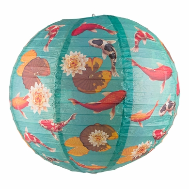 "14"" Japanese Koi Fish Pond Patterned Paper Lantern"
