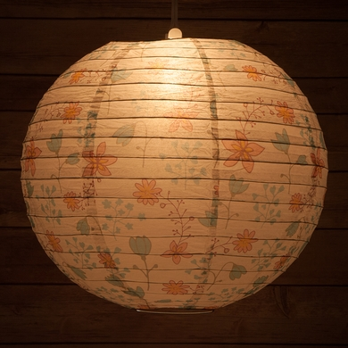 "14"" Liberty Print Teal Bellflower Floral Pattern Paper Lantern, Design by Esper"