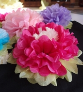 "14"" Fuchsia / Hot Pink Multi-Color Tissue Paper Flower Decorations (3-PACK), EZ-Fluff"