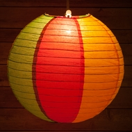 "14"" Festive Fiesta Multi-Color Paper Lantern, Even Ribbing, Hanging Decoration"