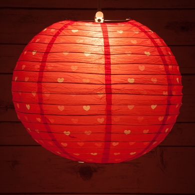 "14"" Red Valentine's Day Heart Pattern Paper Lantern, Even Ribbing, Hanging Decoration"