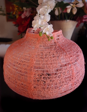 """14"""" Roseate / Pink Coral Lace Fabric Psytker Bell Lantern"""