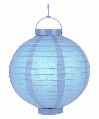 "14"" Serenity Blue 16 LED Round Battery Operated Paper Lantern w/ Built-in Light-Up Switch"