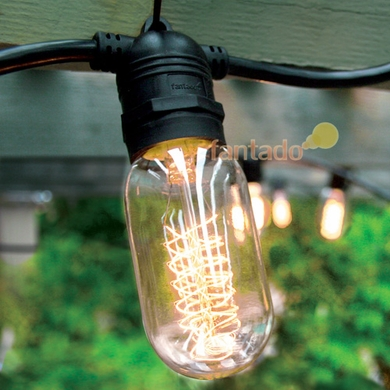 15 Socket Outdoor Commercial String Light Set, Edison T45 Bulbs, 31 FT Black Cord w/ E26 Medium Base, Weatherproof