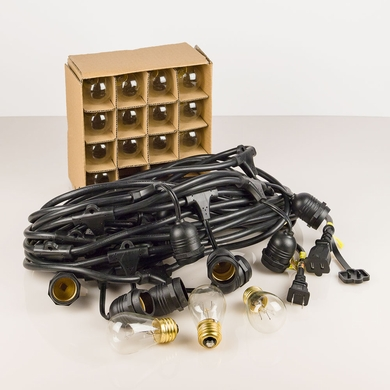 15 Suspended Socket Outdoor Commercial Weatherproof SJTW String Light Set, S14 Bulbs, 48FT Black Cord w/ E26, 14AWG