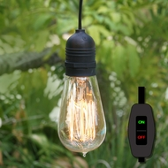 15FT Black Commercial Grade Outdoor Pendant Light Lamp Cord (On/Off Switch, UL Listed)