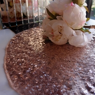 "16"" Copper Rose Gold Sequin Round Table Placemat"