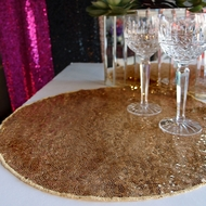 "16"" Gold Sequin Round Table Placemat"