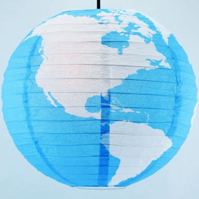 "14"" Greater Detailed World Earth Globe Paper Lantern"