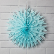 "16"" Light Blue Frosted Tissue Snowflake Hanging Ornament Paper Decoration"