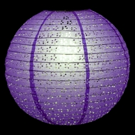"8"" Round Eyelet Lace Look Paper Lantern - Purple"