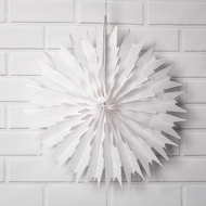 "16"" White Frosted Tissue Snowflake Hanging Ornament Decoration"