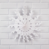 "16"" White Peppermint Tissue Snowflake Hanging Ornament Decoration"