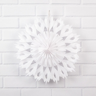"16"" Winter Wonderland White Tissue Snowflake Hanging Ornament Decoration"