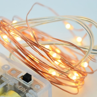 20 Cool White LED Copper Wire Micro Strand Fairy String Lights (6ft ...