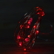 20 Red LED Micro Fairy String Light, Weatherproof Wire w/ Timer (6ft, Battery Operated)