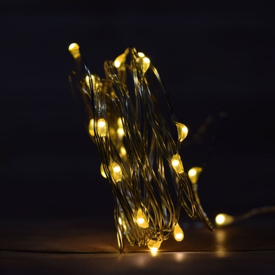 20 Warm White LED Micro Fairy String Light, Weatherproof Wire w/ Timer (6ft, Battery Operated)