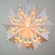 "20"" White Winter Angel Snowflake Paper Star Lantern, Hanging Decoration"