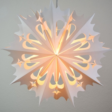 "20"" White Winter Angel Snowflake Paper Star Lantern, Hanging (Light Not Included)"