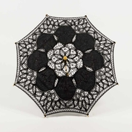 "22"" Black Lace Cotton Fabric Parasol Umbrella w/ Metal Frame"