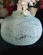 "22"" Cool Mint Green Lace Fabric Psytker Bell Lantern"