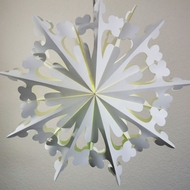 "23"" White Winter Clover Snowflake Paper Star Lantern, Hanging (Light Not Included)"